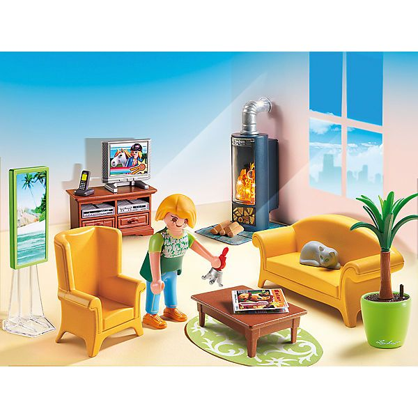 Passendes Ergänzungsset Wohnzimmer mit Kaminofen (PLAYMOBIL®-Nr.: 5308) zum Puppenhaus.<br /> <br /> Heute war es ungemütlich draußen, der Wind war kalt und die Sonne kam nicht raus. Da ist es schön, wenn man sich abends ins Wohnzimmer setzt. Ganz gemütlich auf das Sofa, der Fernseher läuft leise im Hintergrund und im angeheizten Ofen knistert und knackt das Feuer.<br /> <br /> So entspannt kann der Tag zur Neige gehen.<br /> <br /...
