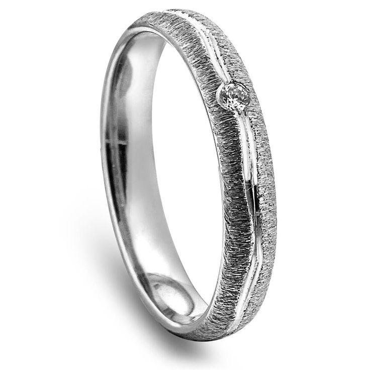 3,5mm mønstret ring,  hvitt gull med diamant