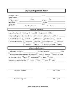this free printable employee separation report is great. Black Bedroom Furniture Sets. Home Design Ideas