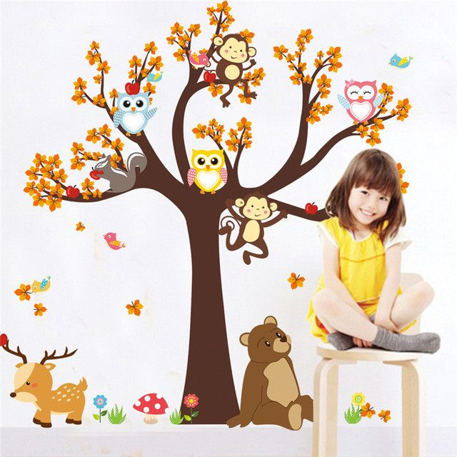 Cartoon Forest Tree Branch Animal Owl Monkey Bear Deer Wall - Wall decals kids roomowl tree branch photo frames wall decal removable wall stickers