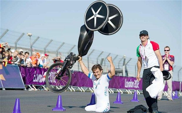 Alex Zanardi, the former Formula One driver took the Paralympic gold medal Wednesday in paracycling - a hand cycle powered by the arms - at the Brands Hatch race track, posting a time of 24 minutes, 50.22 seconds. The victory capped an incredible journey for the 45-year-old who almost died in a horrific accident at a 2001 CART race in Germany.