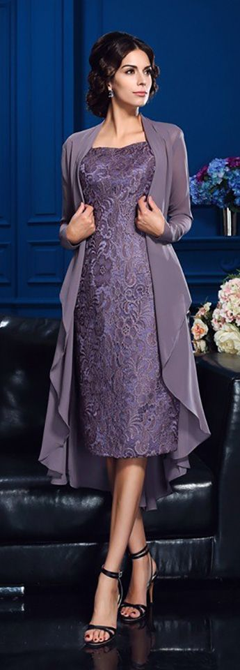 Comfortable lace sheath knee length dress for mother of the bride or women's special occasions. No worry about size, choose from 30+ colors and tailor-made sizes by GemGrace