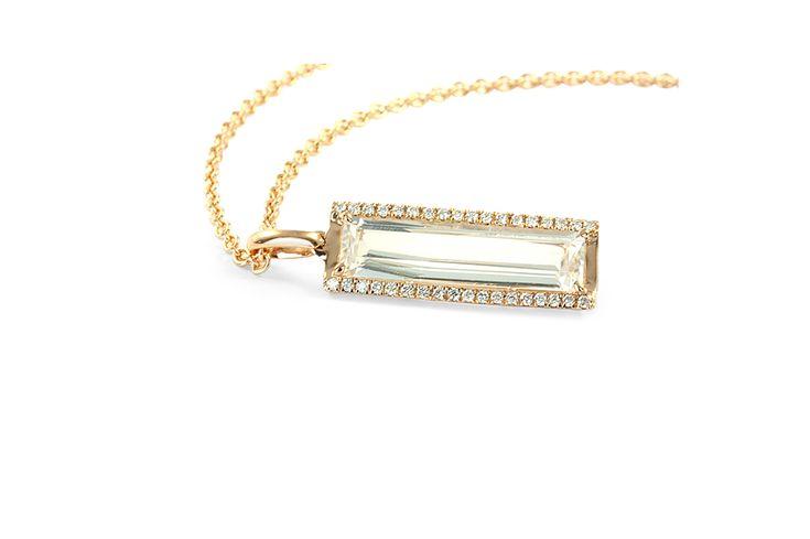 18 ct rose gold white topaz and white diamond pendant