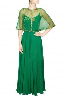 Green and gold dabka embroidered cape anarkali suit