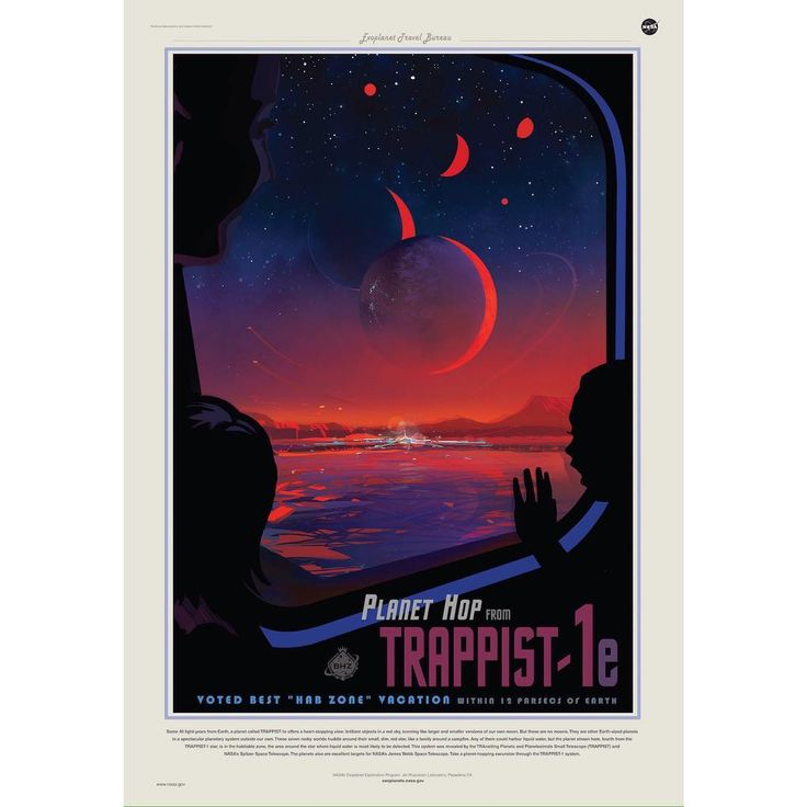Did you hear about the discovery of seven Earth-sized planets orbiting the star TRAPPIST-1? NASA released a bunch of travel posters to our Sister Solar System, this is one of my favourites 🚀