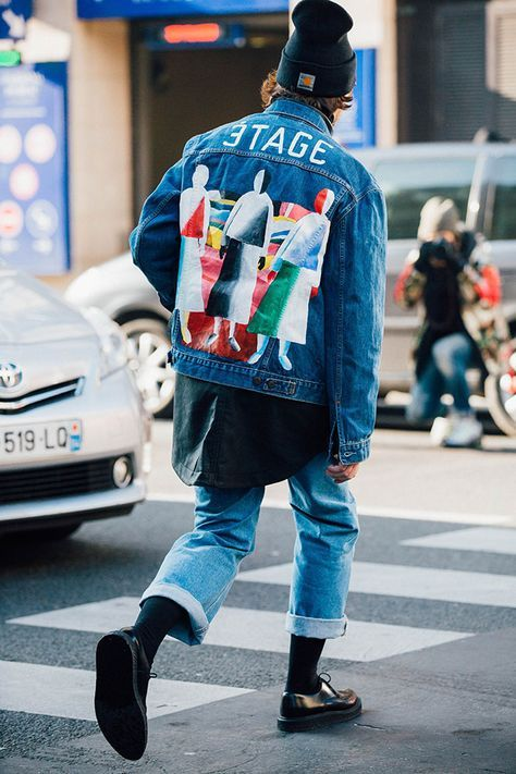 Malevich decorated denim jacket http://www.99wtf.net/men/mens-fasion/fit-wearing-clothes/