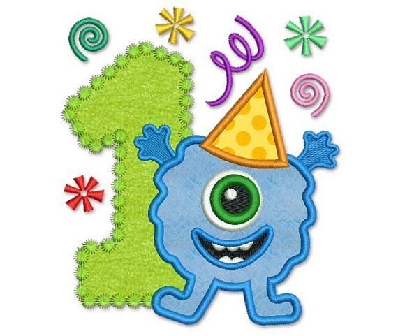 Funny Monster Happy Birthday Number 1 Applique by EmbroideryLand, $4.00
