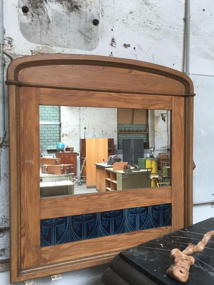 Perfect Antiker Wandspiegel Spiegel Jugendstil Kacheln Fliesen Weichholz Flurspiegel
