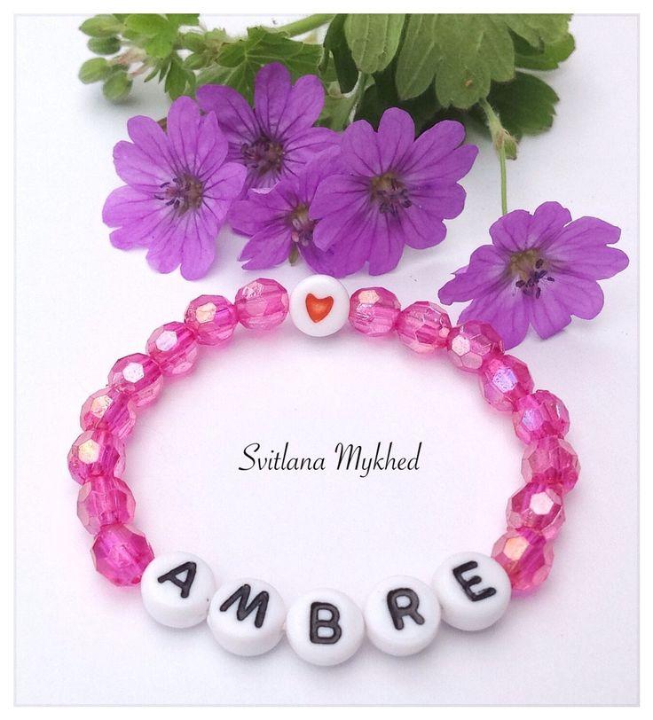 """Bracelet de naissance """"Ambre"""". Bracelet personnalisé avec prénom ou message pour Bébé , Nouveau-né : Bracelet par perles-et-couronnes"""
