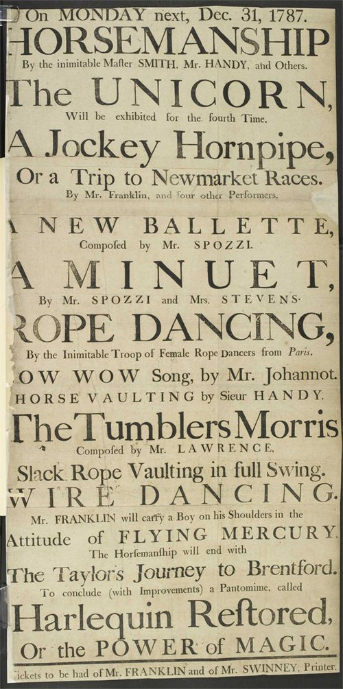 Poster advertising the diverse entertainments on offer to theater goers, 1787  http://www.janegodmanauthor.com/