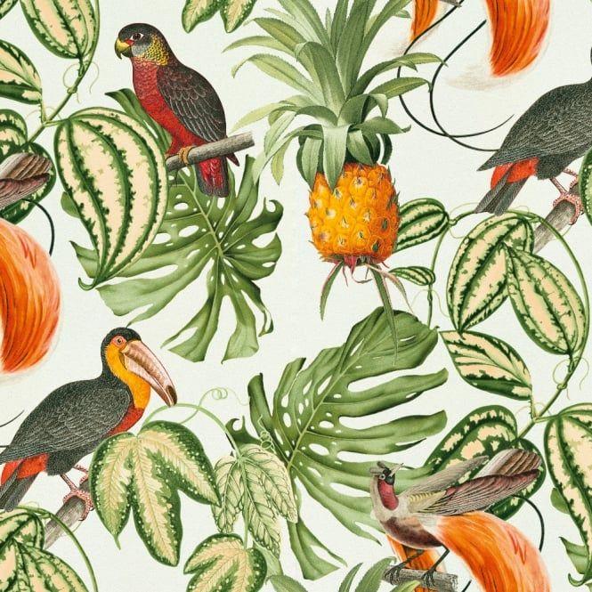 Erismann Paradiso Tropical Bird Pattern Wallpaper Jungle Leaf Motif Textured