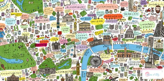 Illustrated map of Central London