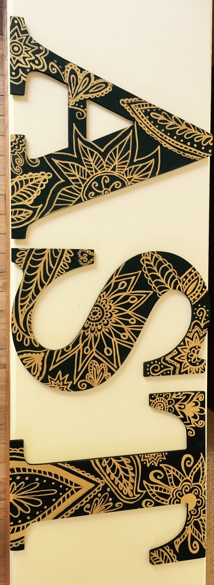 Black paint and a gold paint pen #sororityletters #letters #littlecrafting #little #classy #floral #mandala #gold #black #detailed #alphasigmatau #ast #sorority #crafting #diy