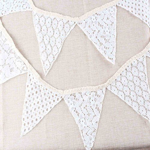 AerWo 6.9ft Cotton Lace Wedding Triangular Flag Bunting Banner - 5 Bunting AerWo http://www.amazon.ca/dp/B015SPYGSS/ref=cm_sw_r_pi_dp_DoOPwb0M1M5SV