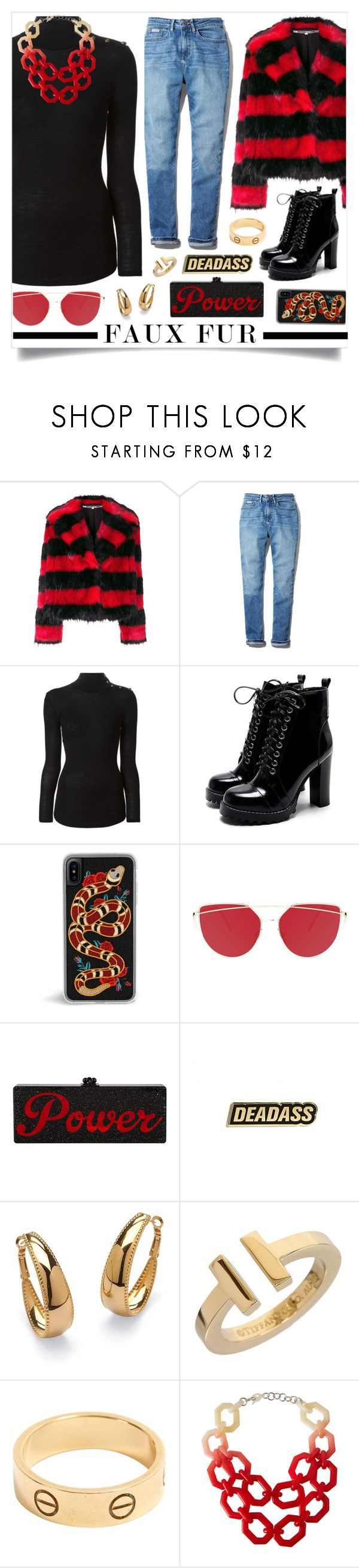 """""""School Style"""" by madeinmalaysia ❤ liked on Polyvore featuring McQ by Alexander McQueen, Calvin Klein, Balmain, Palm Beach Jewelry, Tiffany & Co., Cartier, Alisha.D and fauxfur"""