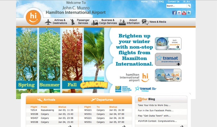 The Hamilton International Airport has honed in its focus on convenient, stress free air travel. Over the past two years, KITESTRING worked with the airport to support their vacation travel seasons with island destinations in the winter and adventuresome Canadian travel in the summer.