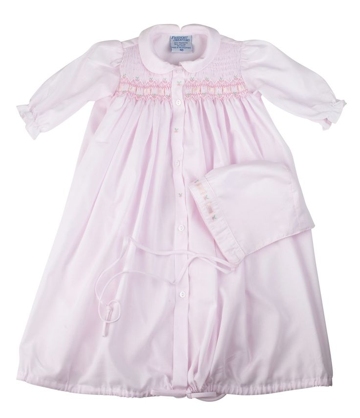 Ribbon Smocked Take Home Gown Hat Vintage Baby