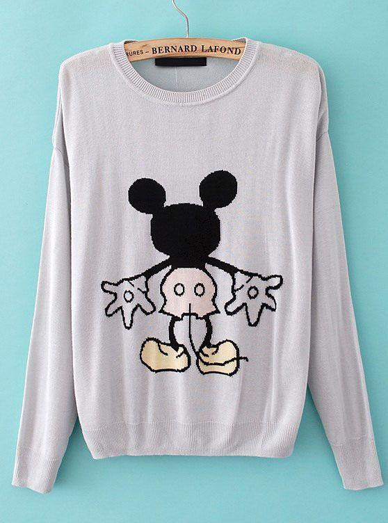 Light Grey Long Sleeve Mickey Pattern Pullover Sweater - Sheinside.com