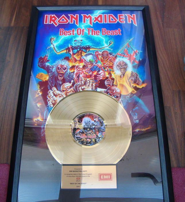 "Catawiki online auction house: Iron Maiden ""Best of the Beast"" Gold Album Award 100,000 UK sales"