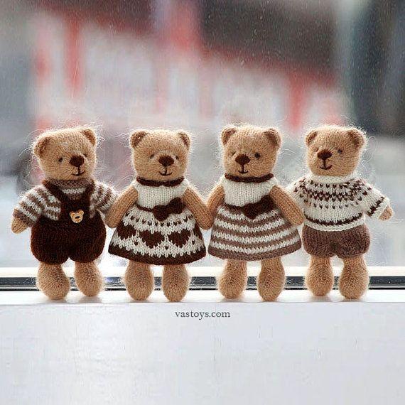 Knitted toys teddy bears set, 4-pc, size 6 in, mohair yarn, chocolate, coffee, milk, huney colors. Handmade toys. Stuffed animals.