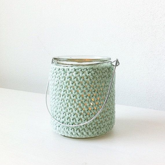 Small glass lantern with crocheted cover  Made by Home Sweet Home Design (etsy shop)
