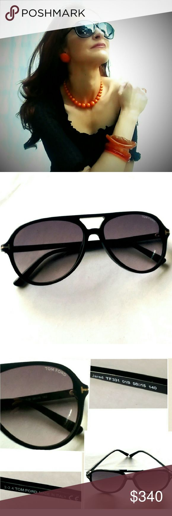 "Tom Ford Jared Black Aviator Sunnies- NEW! Shiny black acetate frame with gold metal ""T"" logo and Polarized gradient grey lenses. 100% UVA/UVB protection. Made in Italy. Guaranteed authentic in Tom Ford velvet case. NEW. Tom Ford Accessories Sunglasses"