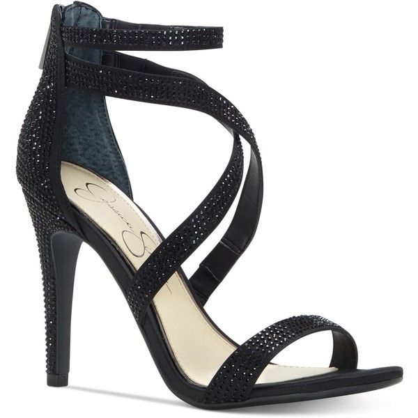 Jessica Simpson Emilyn Crisscross Sandals ($98) ❤ liked on Polyvore featuring shoes, sandals, black, black strap sandals, black strappy sandals, black evening shoes, evening sandals and jessica simpson sandals