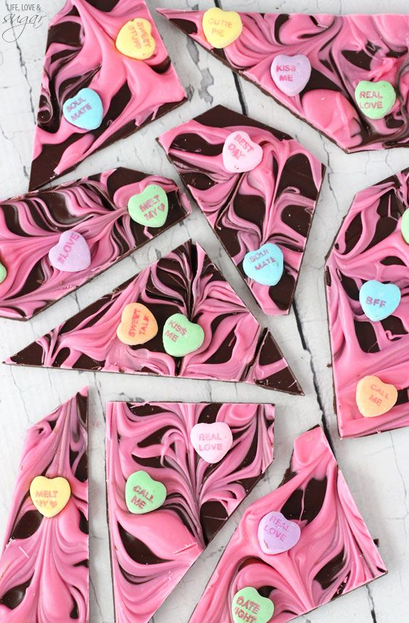 Conversation Heart Chocolate Bark! Perfect for Valentine's Day!