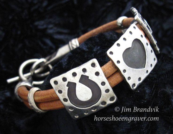 Heart and Horseshoes Bracelet by HorseshoeEngraver on Etsy