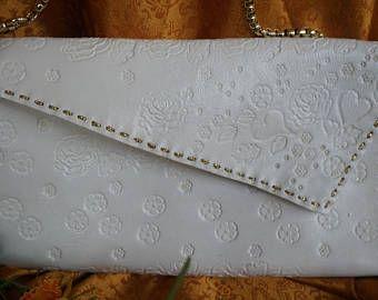 Witte clutch model Mary van leer, handgemaakt