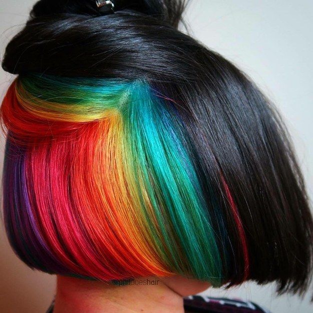 Hidden Neon Rainbow | 17 Secretly Bold Hair Colors You Can Actually Wear To Work