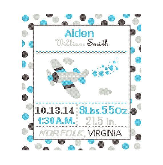 1 Cross Stitch custom Pattern Baby Boy Personalised Birth Announcement Birth Record Airplane Charcoal Aqua Gray Transport polka dots cute