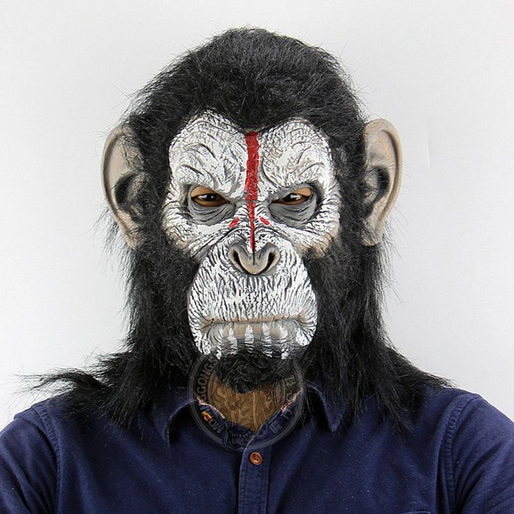 King Kong Planet of the Apes Gorilla Mask hood Gorillas Overhead Monkey Latex Animals Masks Blood Scary Halloween Party