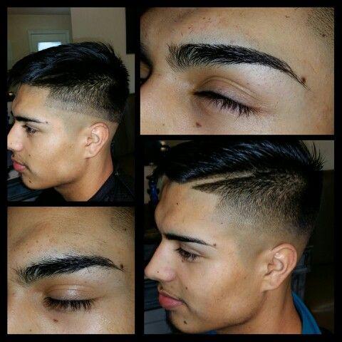 mens haircut and eyebrows