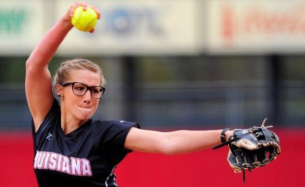 Ragin' Cajun softball defeated defending national champion Oklahoma twice on Saturday, with the same pitcher in the circle for both...Christina Hamilton.