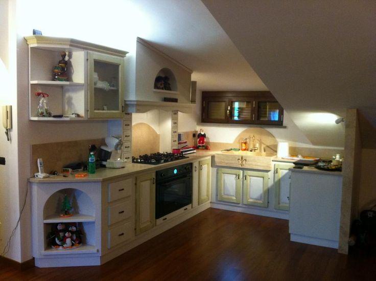 Cucina mansarda in finta muratura…una chicca!