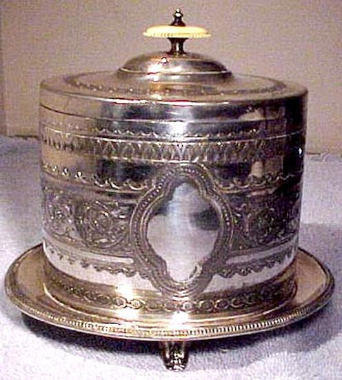 Victorian English Silver Plated Biscuit Caddy or Barrel Carved
