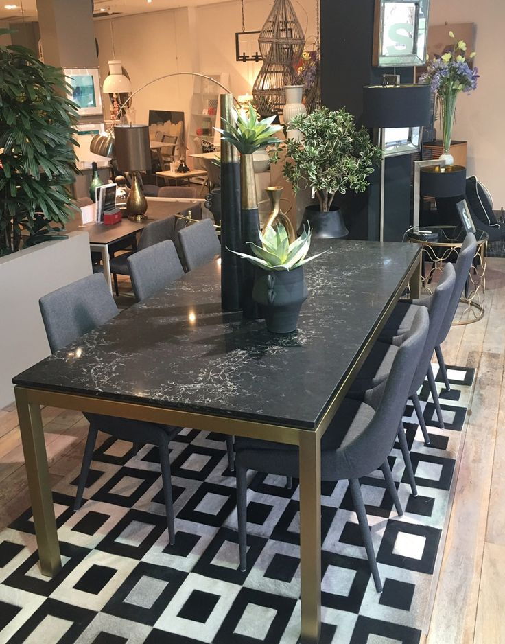 Stunning Lulu dining table in Vanilla Noir Caesarstone - gracing the entrance to the showroom this month!