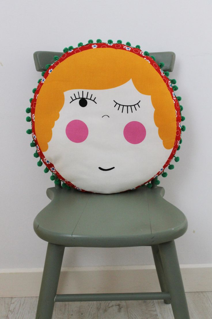 A personal favourite from my Etsy shop https://www.etsy.com/au/listing/249208818/polly-circular-cushion-with-pom-pom-trim