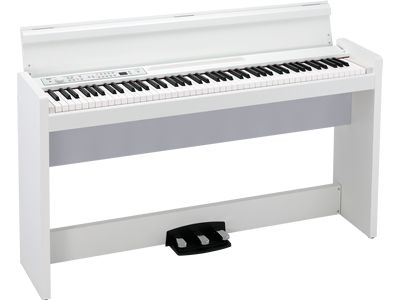 Korg's LP-380 features our best hammer action and 30 incredible sounds delivered by a finely-tuned speaker system for the piano enthusiast. Available in Black, White and rich Rosewood finishes. Soft-fall key cover and three pedal system included. Click to learn more.