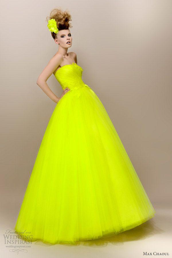 MAX CHAOUL                                                                                                                                   Neon Yellow Haute Couture Dress ☻                                                                                                                                                                  ⇜•ṄεΦЙ❉€яᗛƶΣ•⇝