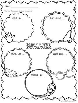 Writing about the summer using the five senses - printable page from FREE Summer Vacation Printable Mini Pack - Keep your students busy during the last few days of school!