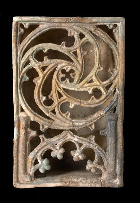 Ofenkachel 1413-16 aus Burg Melice in Mähren, Muzeum Vyškovska