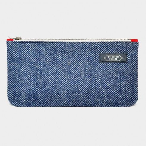 Blue Herringbone Pouch Online at Tadpole Store