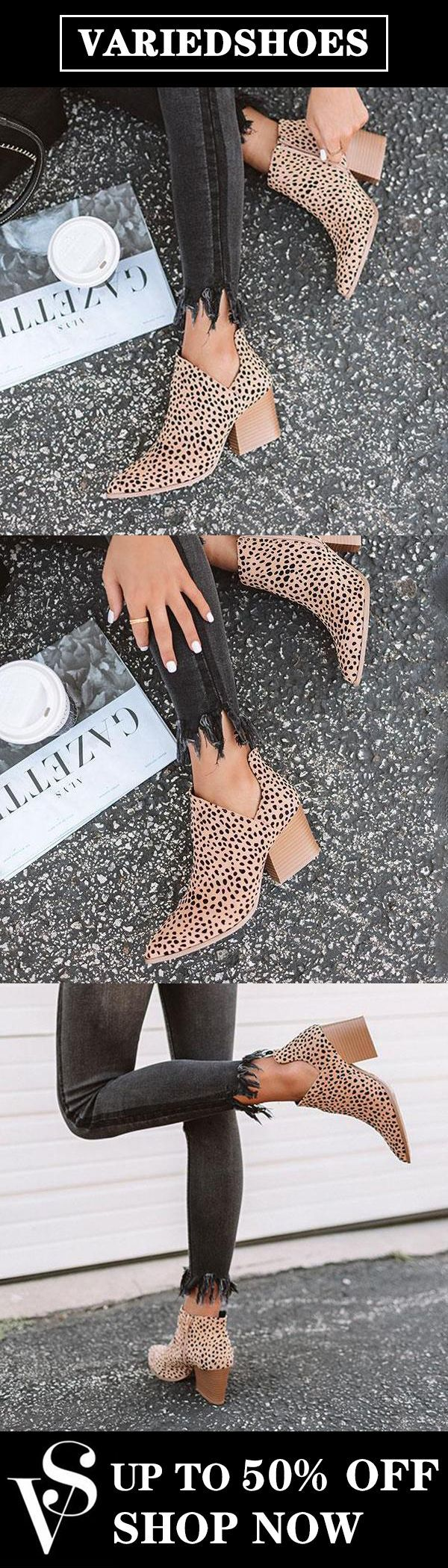 Fashion Stylish Pointed Toe Leopard Booties – Casual shoe style