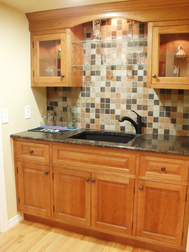 Wet Bar. LOVE The Backsplash...WILL Be Doing This On Our Basement