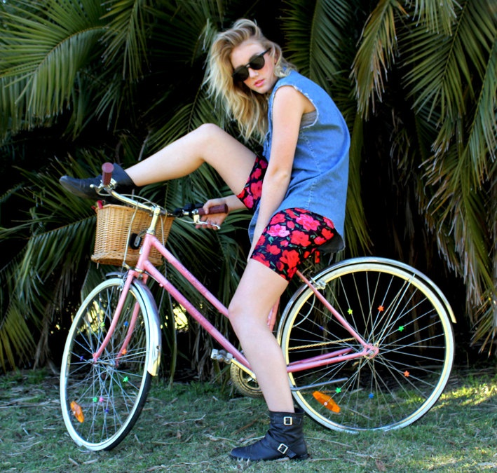 Bike+shorts++Spring+flower+print+bike+pants++M/L+by+Uptightso,+$49.00