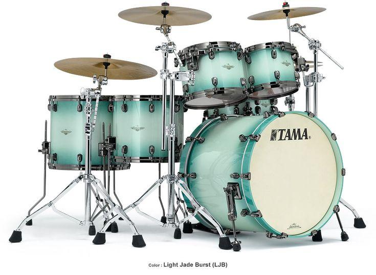 Tama Drum's Starclassic Bubinga in beautiful Light Jade Burst finish and Black Nickel hardware