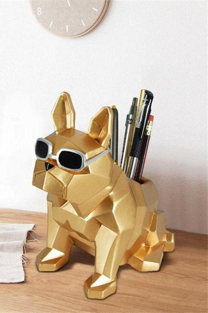 DT013226 /'French Bulldog Head/' Desk Tidies Pencil Holders