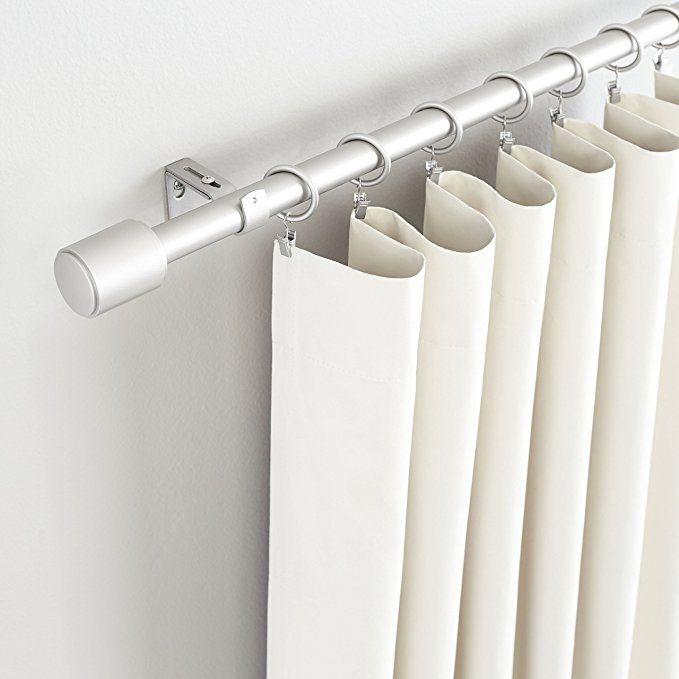 Amazon Com Amazonbasics 1 Curtain Rod With Cap Finials 72 To